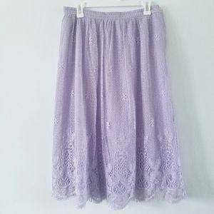 Vtg lavender crochet lace lined full a-line skirt